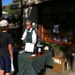 "Author Reece Michaelson signing copies of ""The Journals of Petra Volare"" at The Book Loft in Solvang, CA."